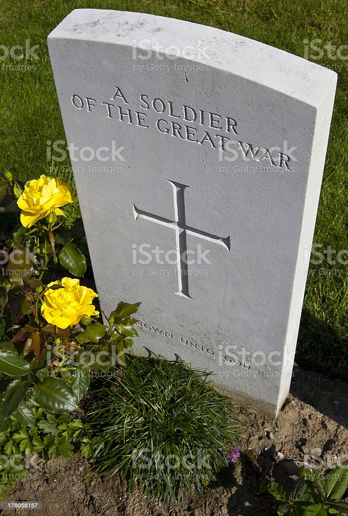 Soldier of the Great War in Tyne Cot Cemetery royalty-free stock photo