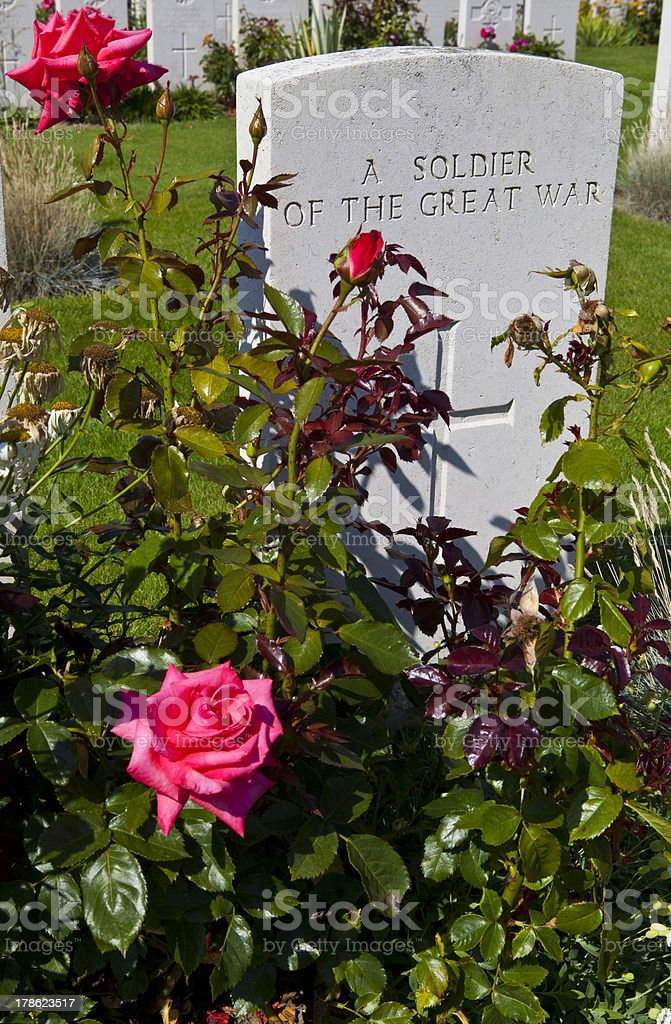 Soldier of the Great War in Tyne Cot Cemetery stock photo
