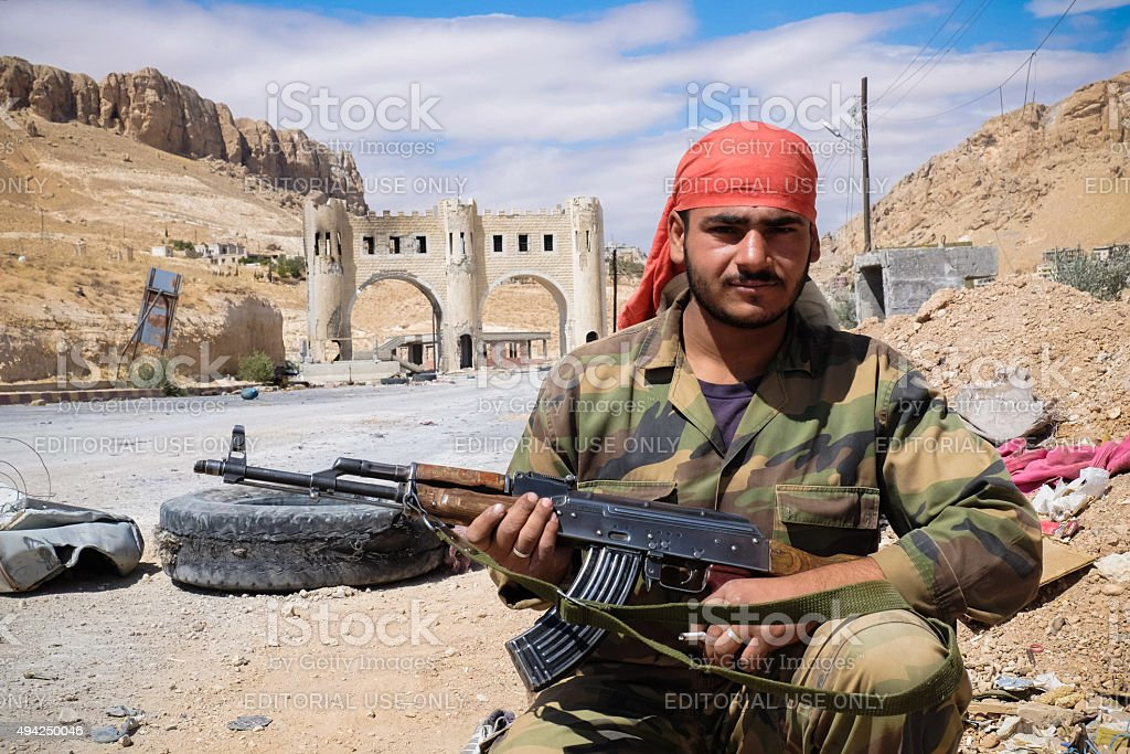 Soldier of the Syrian National Army checkpoint near Ma'loula stock photo