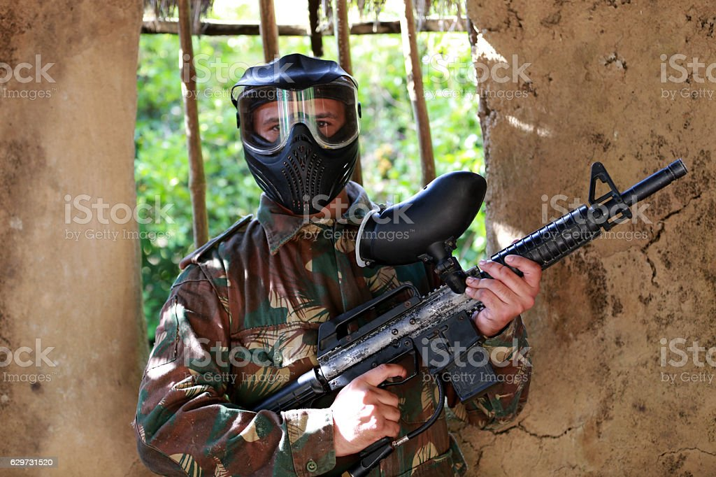 Soldier on a training class stock photo