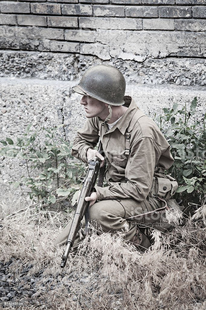 Soldier on guard WWII stock photo