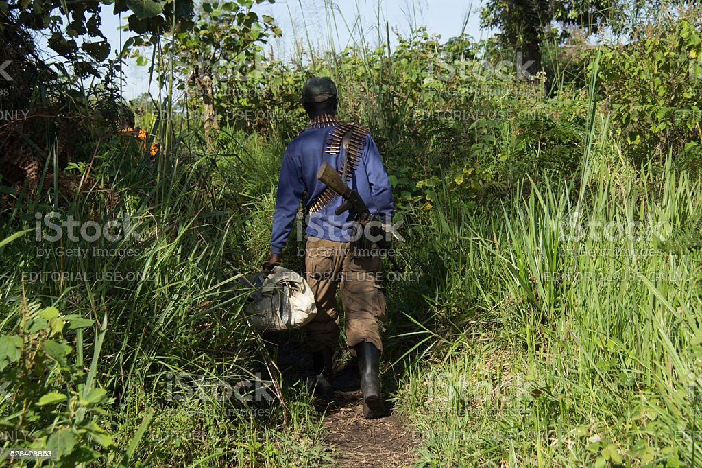 FDLR Soldier on Patrol stock photo