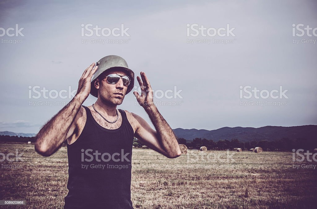 Soldier on the field stock photo