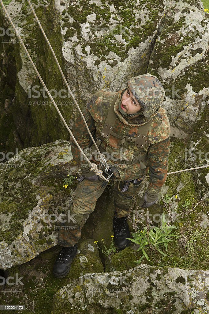 Soldier on the rope royalty-free stock photo