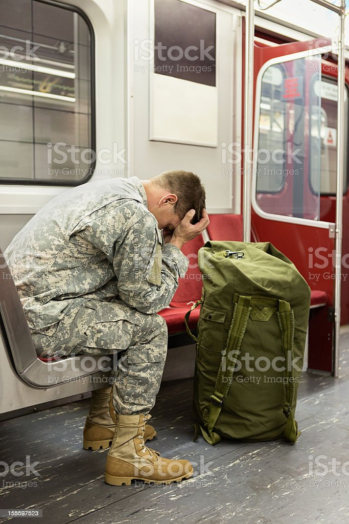 Soldier on the train stock photo