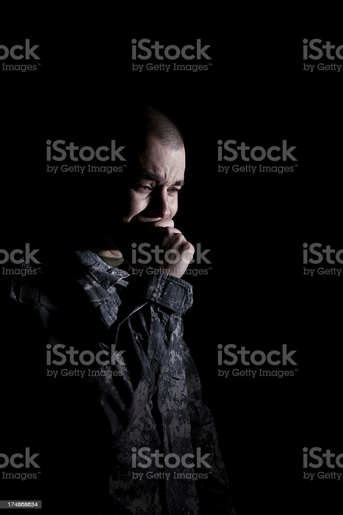 Soldier On the Verge of Tears royalty-free stock photo