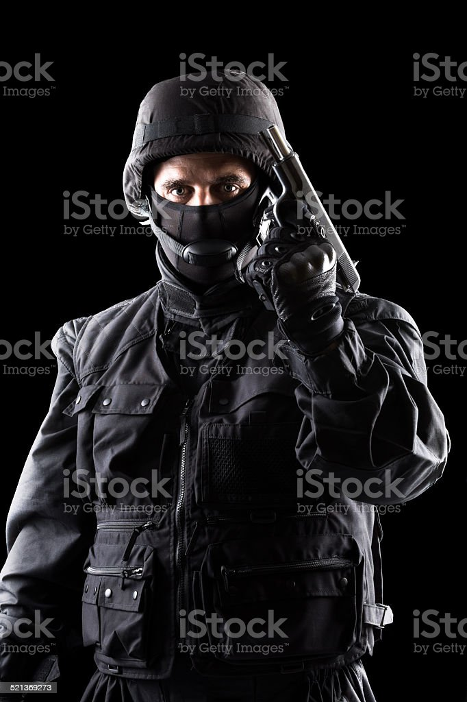 Soldier portrait, black background stock photo