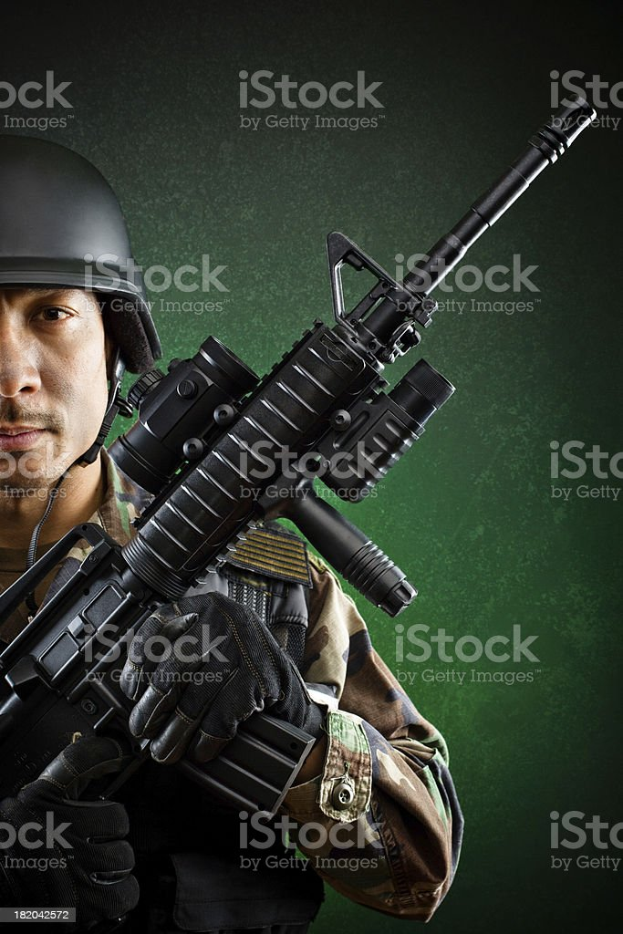 soldier portrait rifle royalty-free stock photo