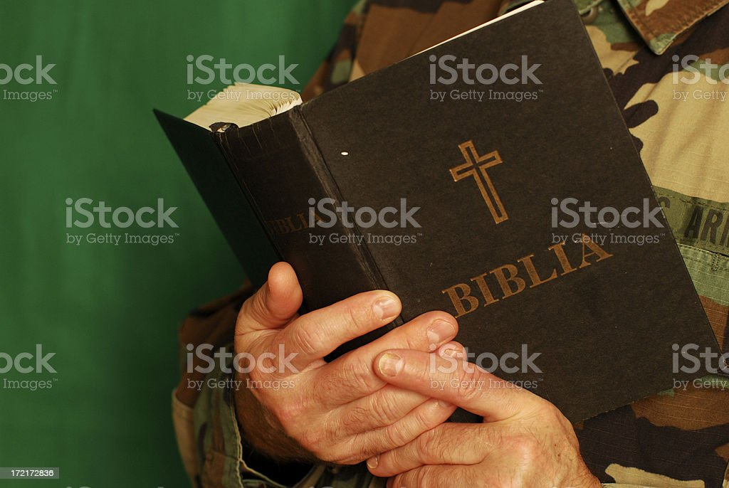 soldier reading bible royalty-free stock photo