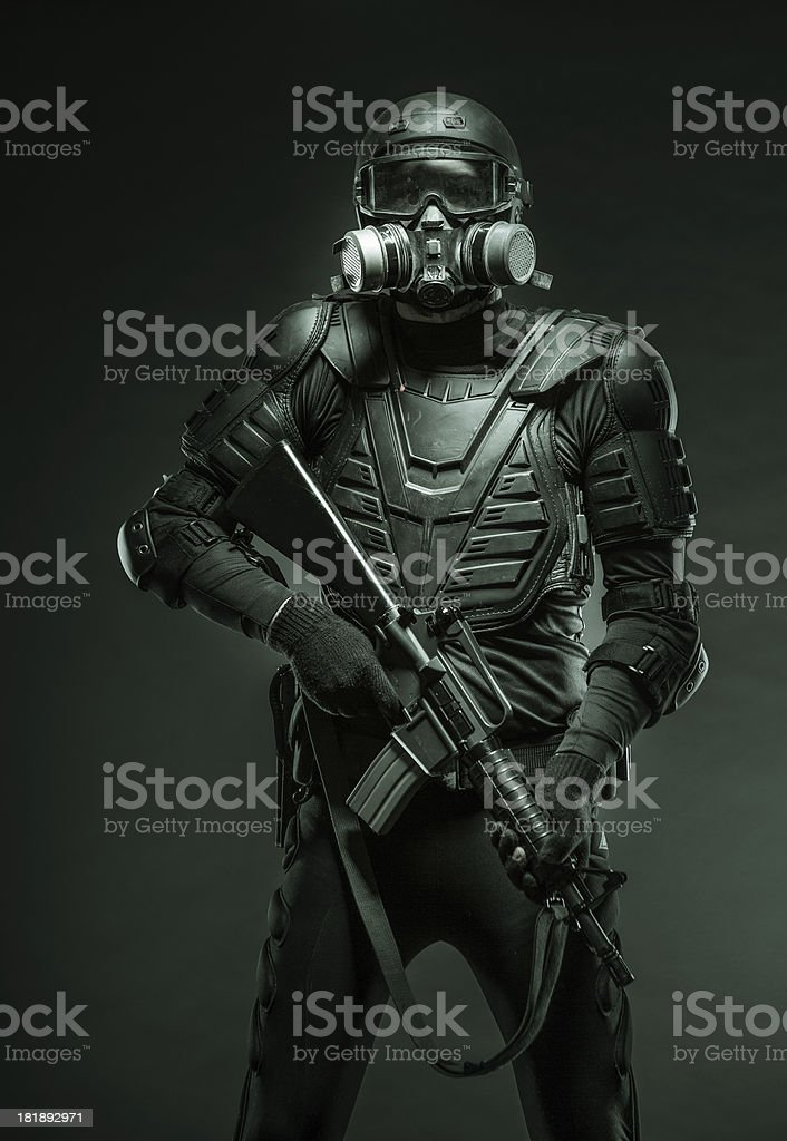 Soldier Ready for Action Against Terrorists royalty-free stock photo