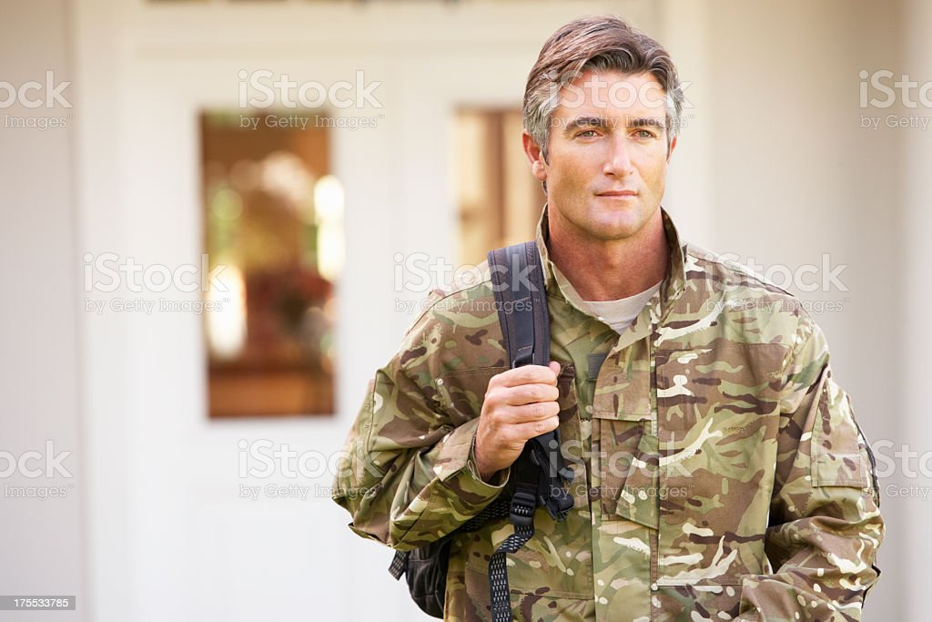 Soldier Returning To Unit After Home Leave stock photo