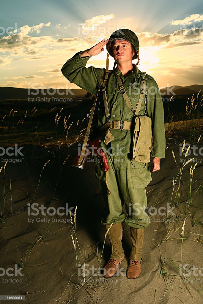 WW2 Soldier Salute royalty-free stock photo