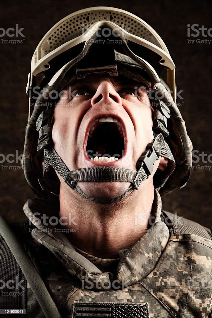 US Soldier Screaming royalty-free stock photo