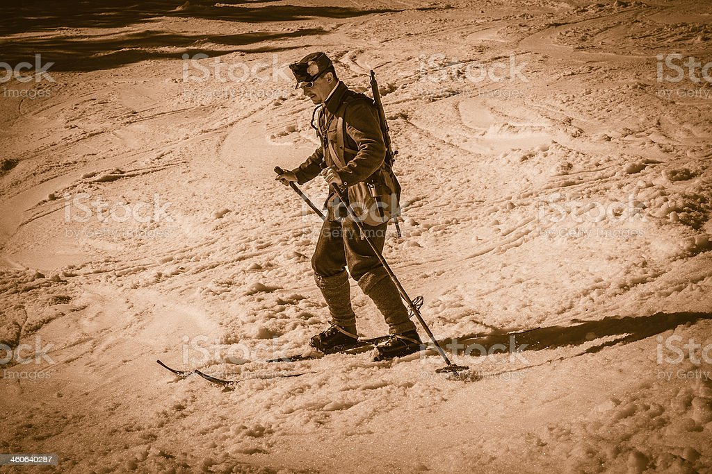 Soldier Skiing in the Mountains royalty-free stock photo