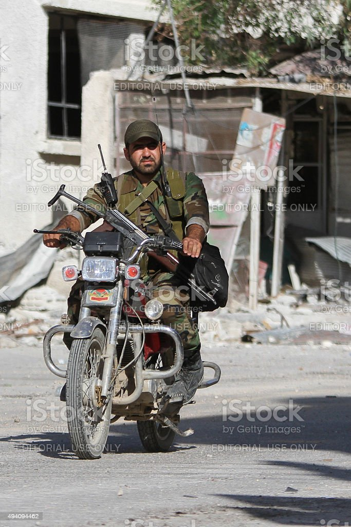 Soldier SNA in the suburbs of Damascus stock photo