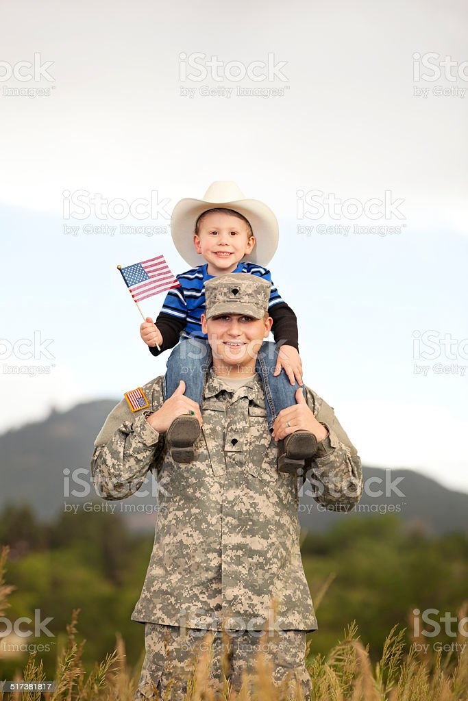 U S Soldier & Son stock photo