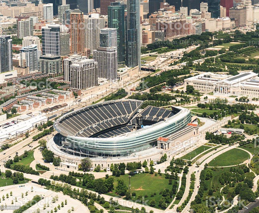 Soldier stadium aerial view in chicago stock photo