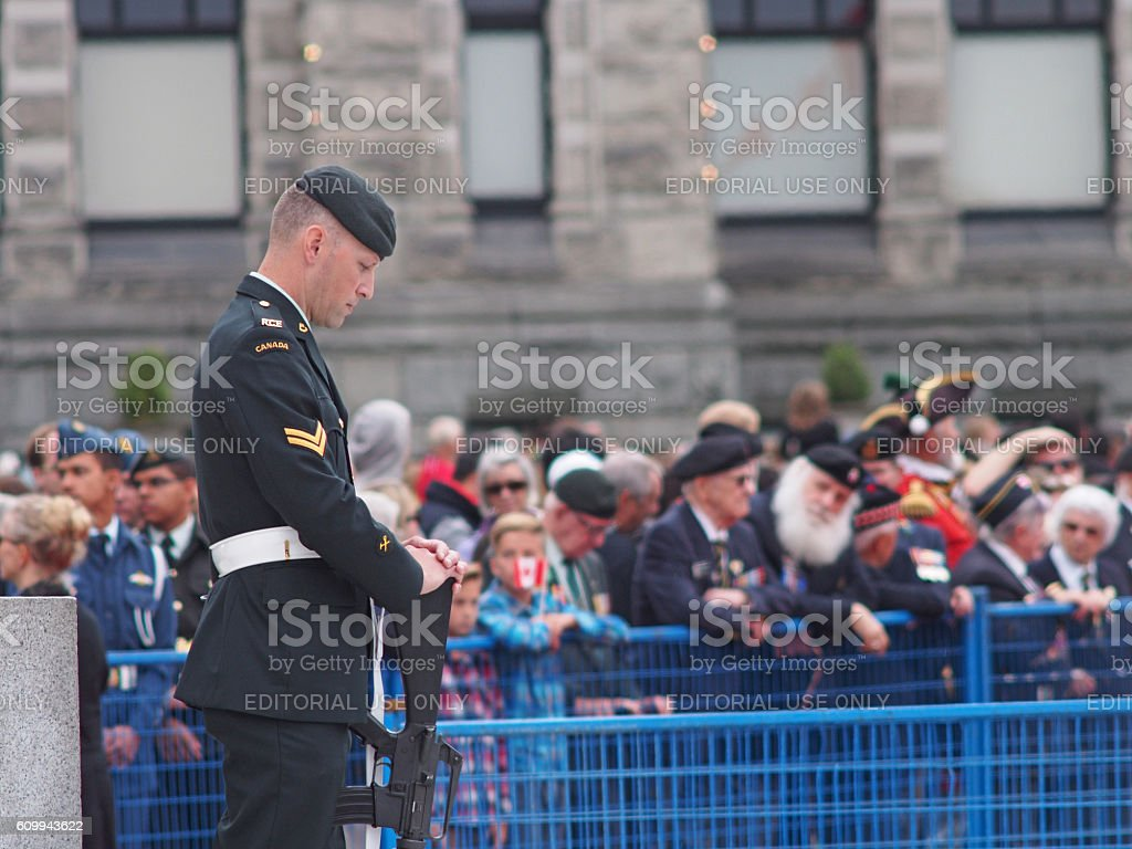 Soldier Standing at War Monument in Victoria Canada stock photo