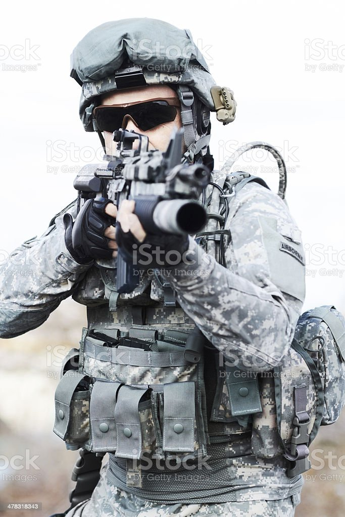 Soldier standing steady stock photo