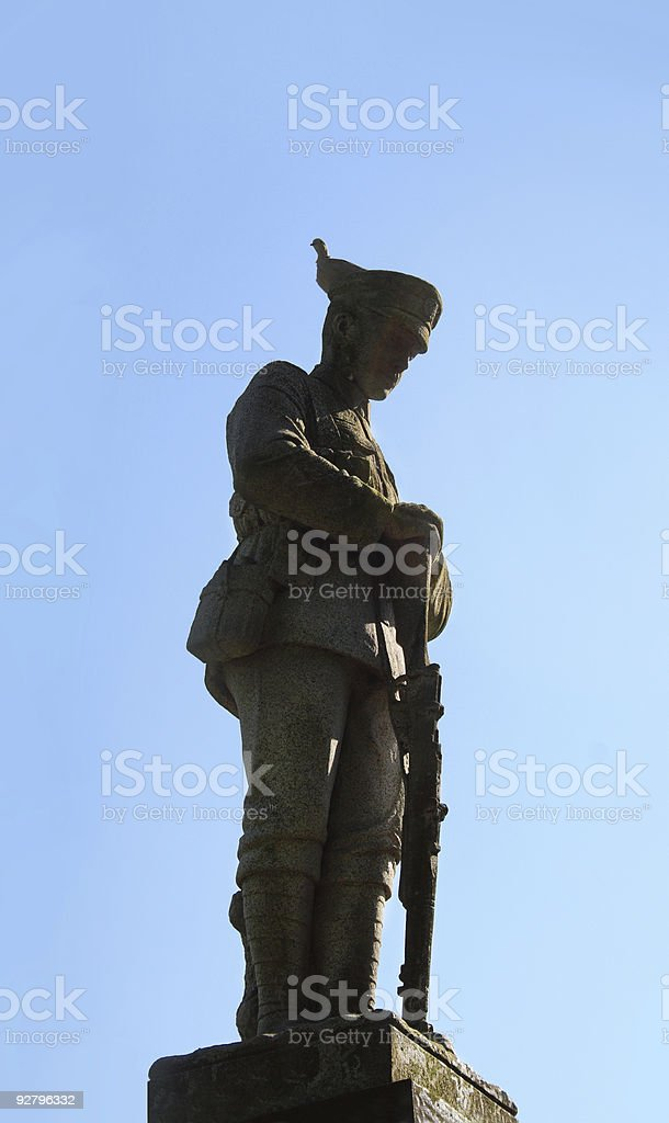 Soldier staue with pigeon royalty-free stock photo
