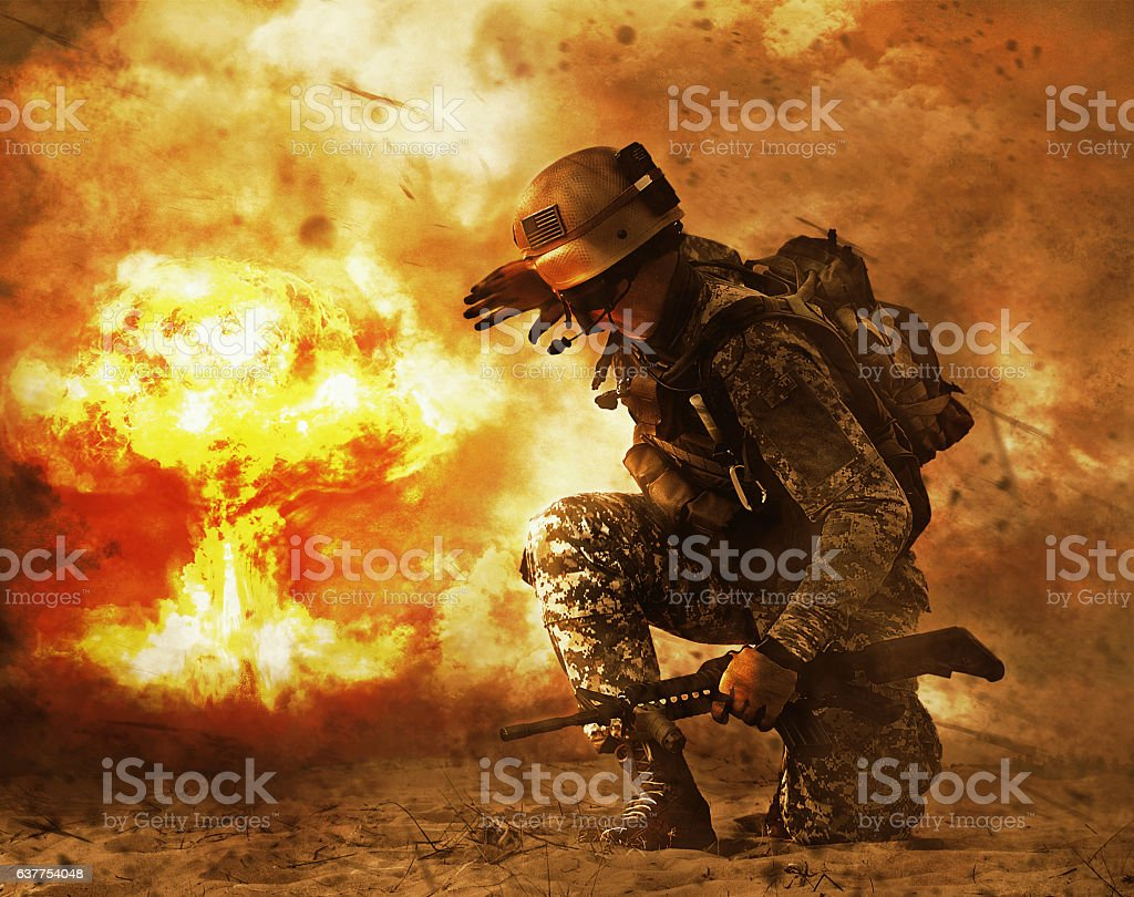 soldier turning to mushroom cloud stock photo