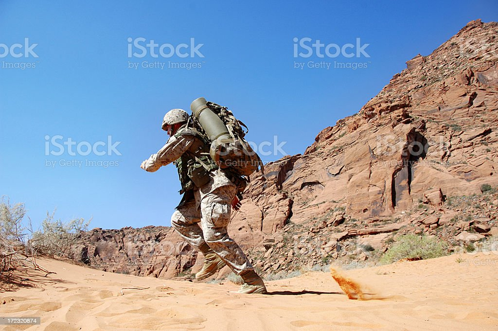 Soldier Under Fire royalty-free stock photo