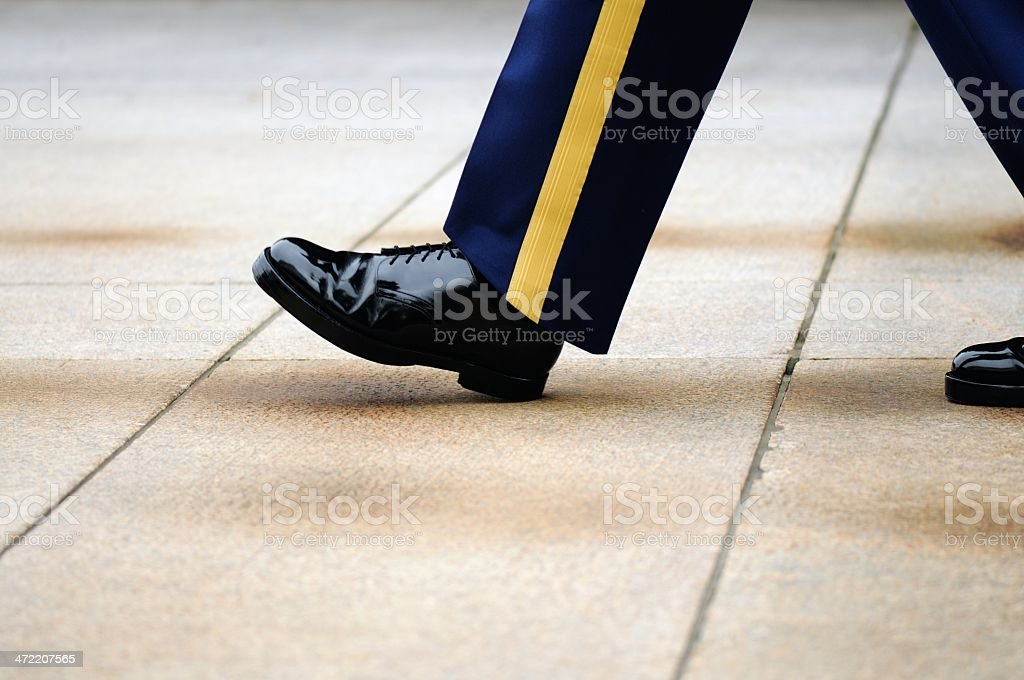 Soldier walking honored post at Arlington stock photo