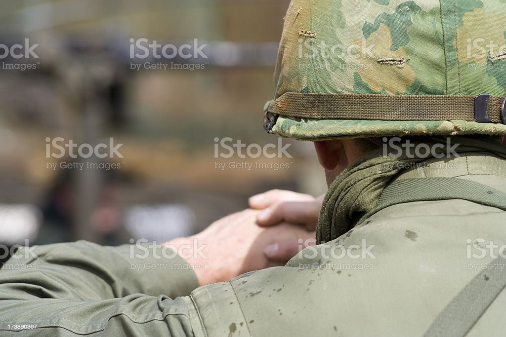Soldier watching stock photo