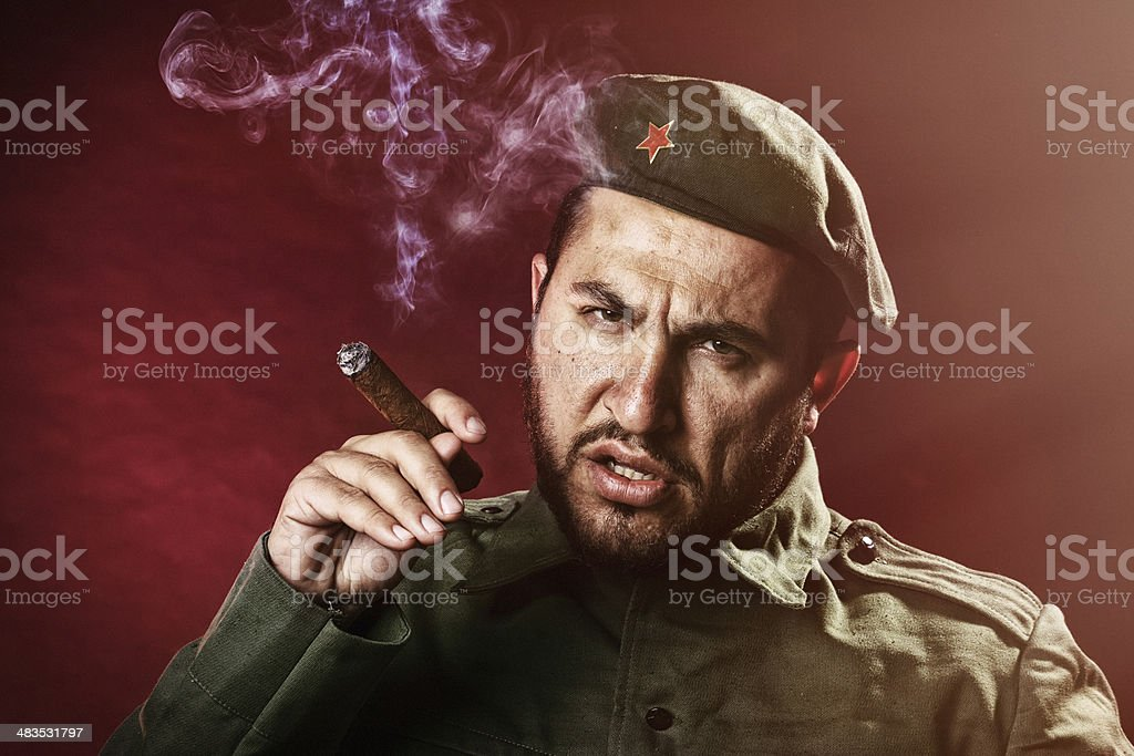 Soldier with a cigar stock photo