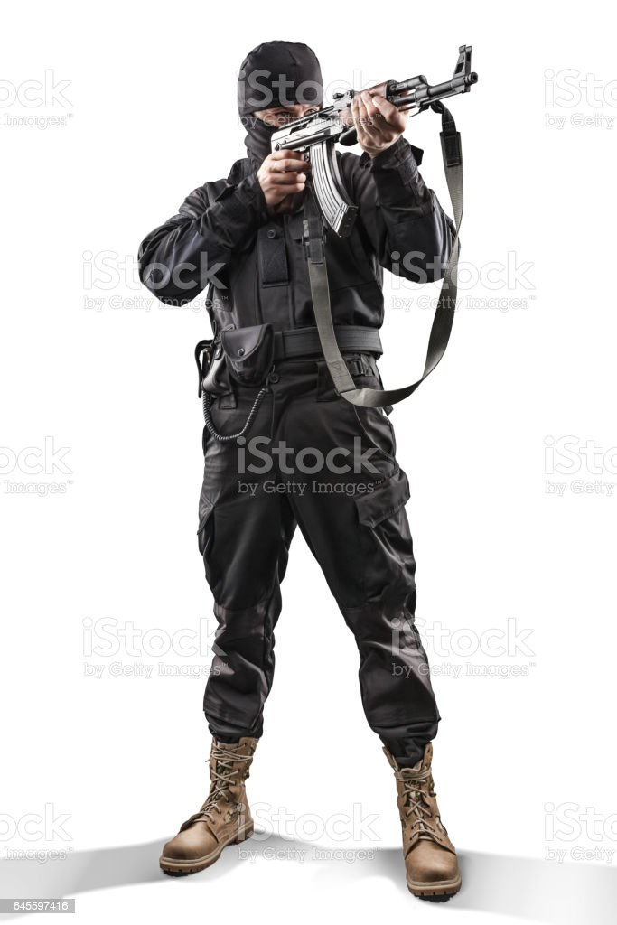 Soldier with assault rifle aiming isolated on white stock photo