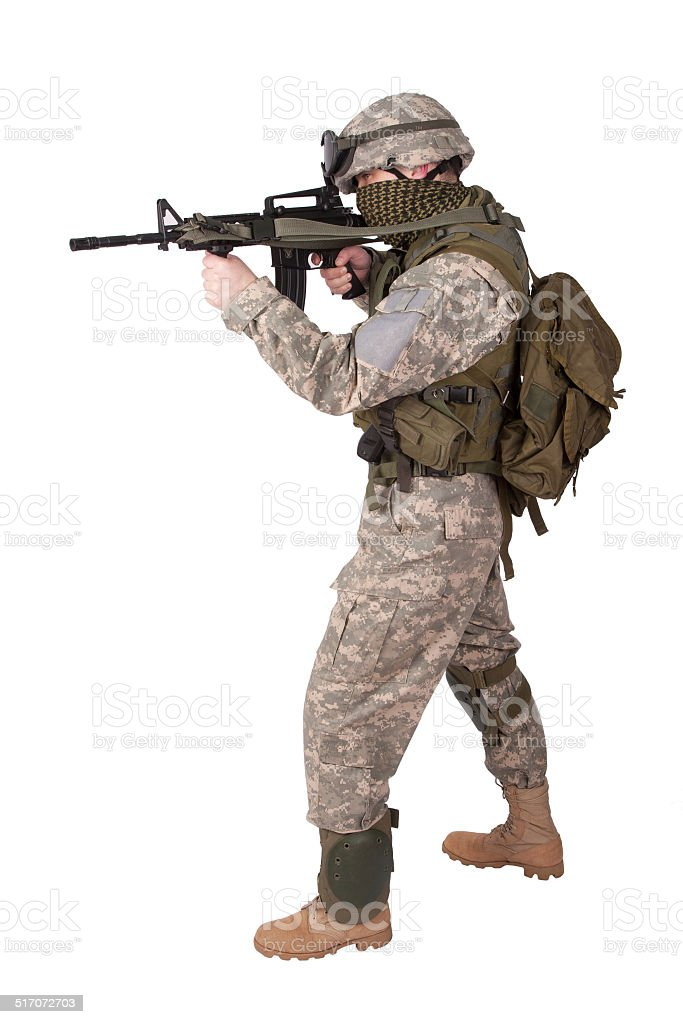 US soldier with assault rifle on white background stock photo
