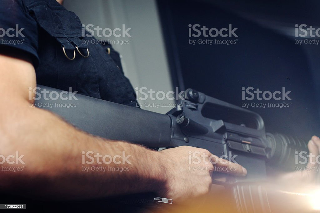 Soldier with Assault Rifle royalty-free stock photo