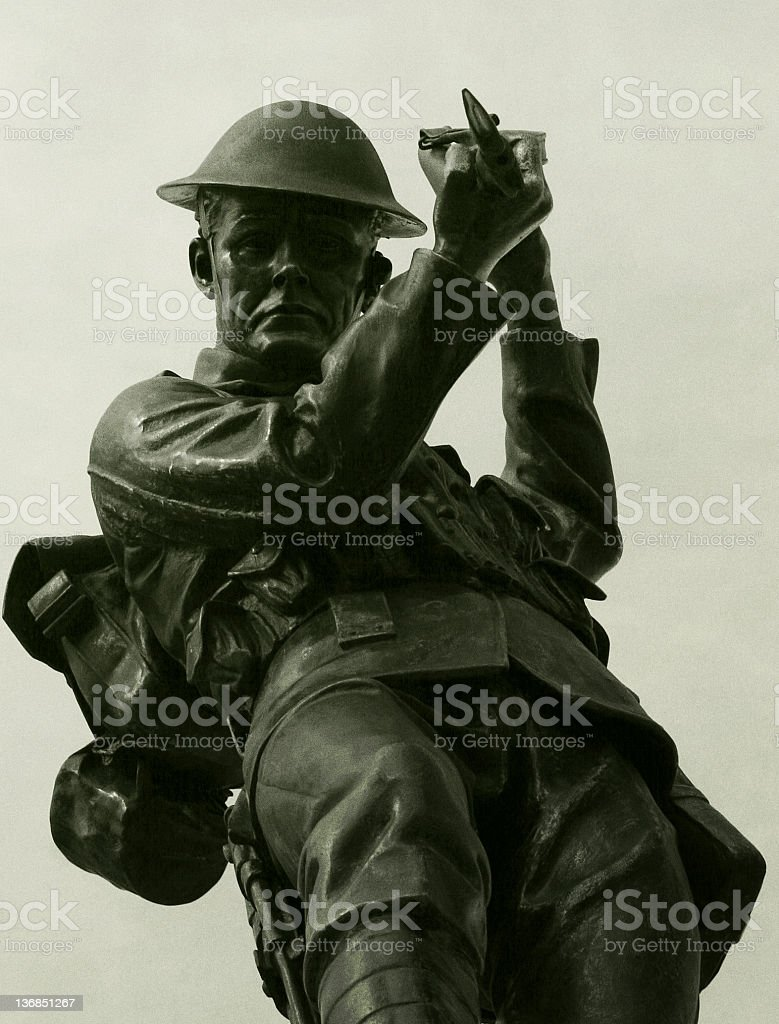 Soldier with bayonet stock photo