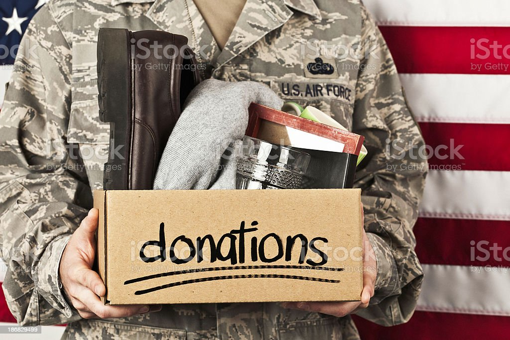 Soldier with Donation Box royalty-free stock photo