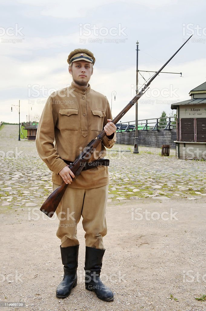 Soldier with  gun in retro style picture royalty-free stock photo
