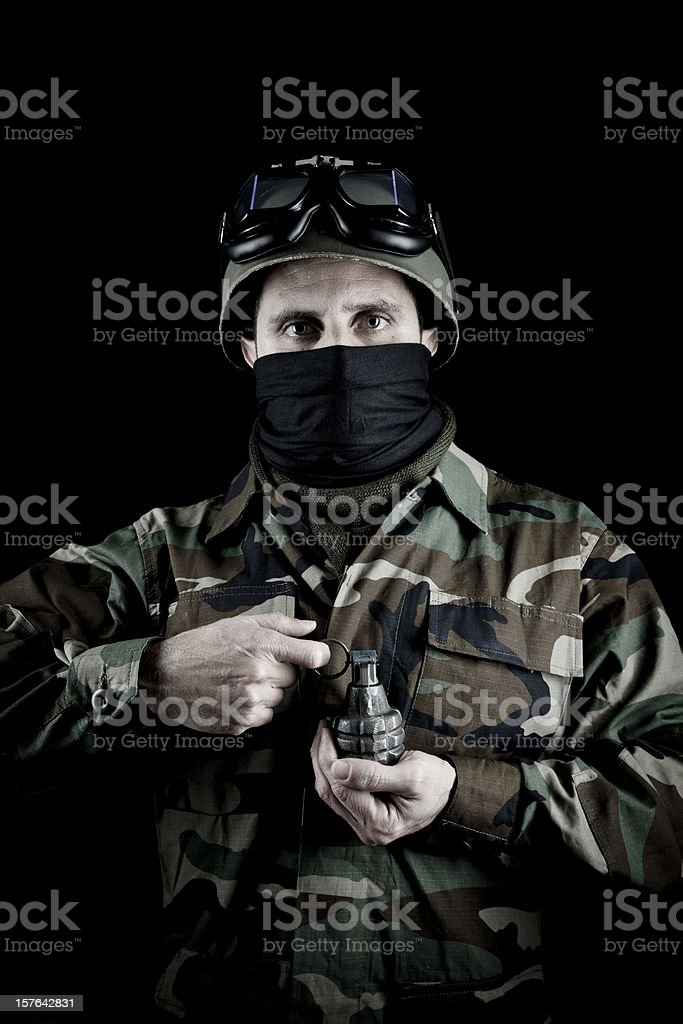 US soldier with hand grenade stock photo