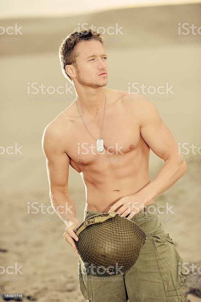 US Soldier With Helmet and Dog Tags royalty-free stock photo