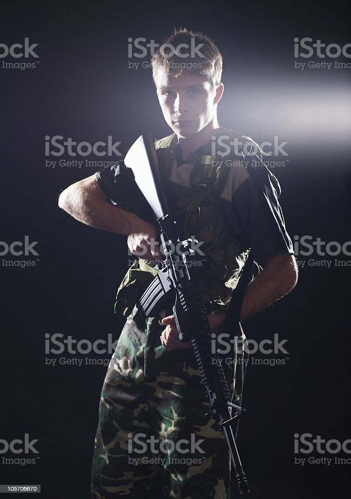 Soldier with M16 rifle royalty-free stock photo