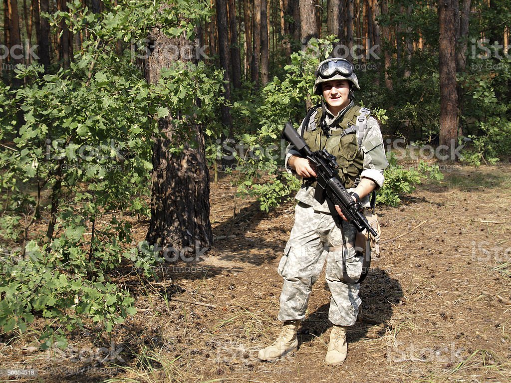 Soldier with M4 Carbine royalty-free stock photo