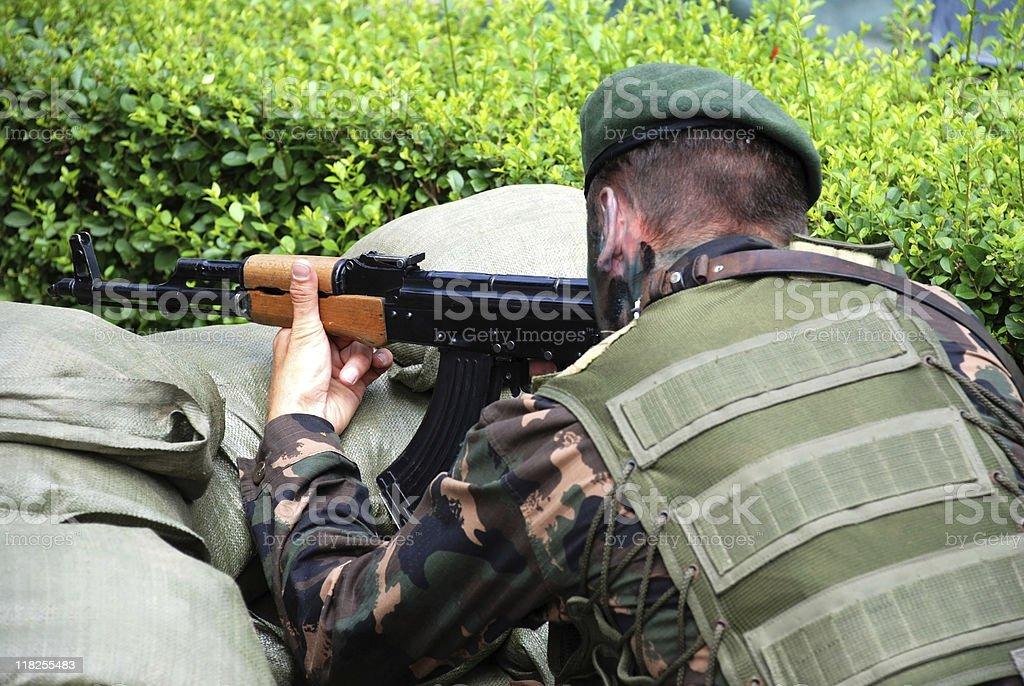 soldier with machine gun royalty-free stock photo