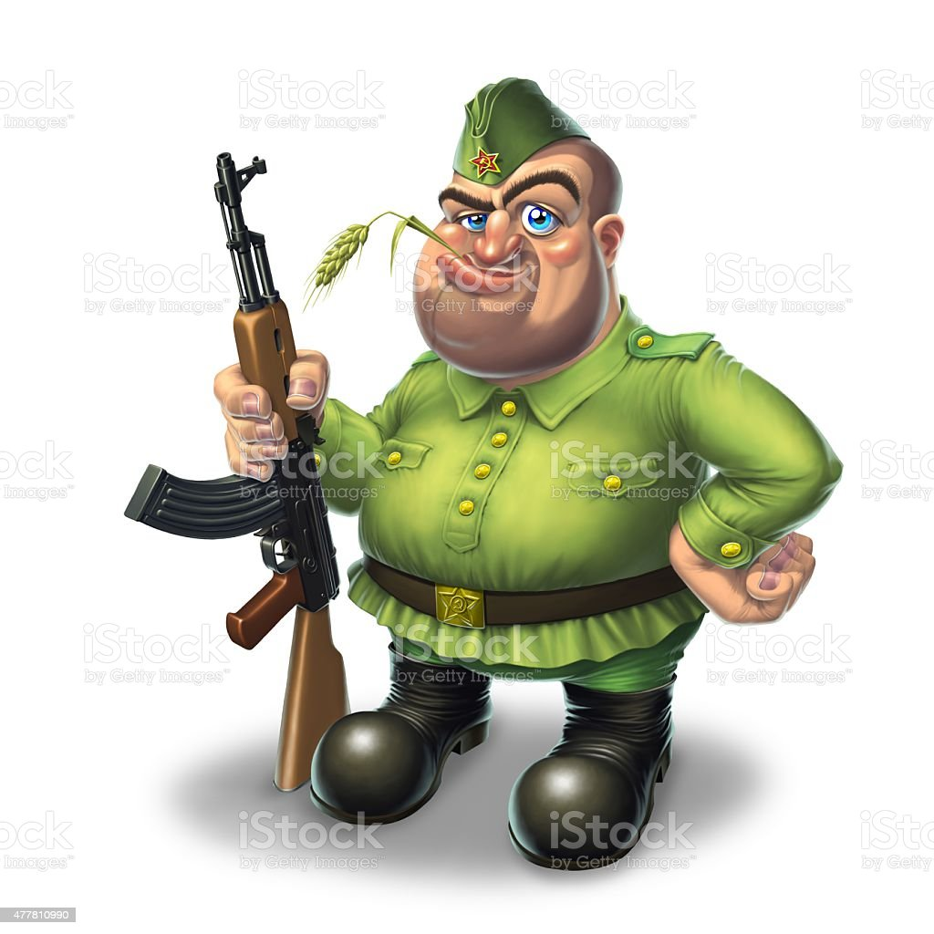 Soldier with machine gun stock photo