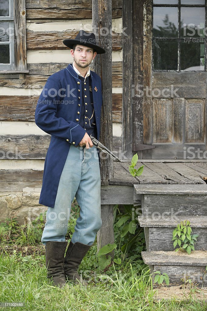 Soldier with Pistol, American Civil War Union Private stock photo