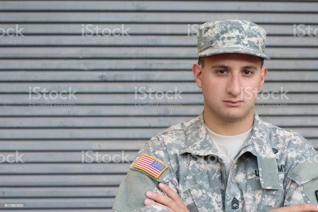 US Soldier With PTSD stock photo