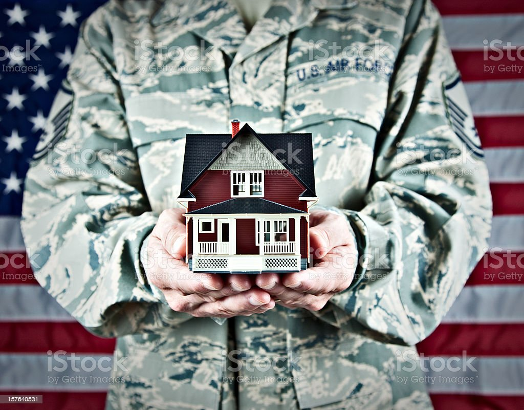 US Soldier with Real Estate stock photo