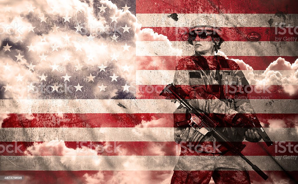 soldier with rifle on a usa flag background stock photo