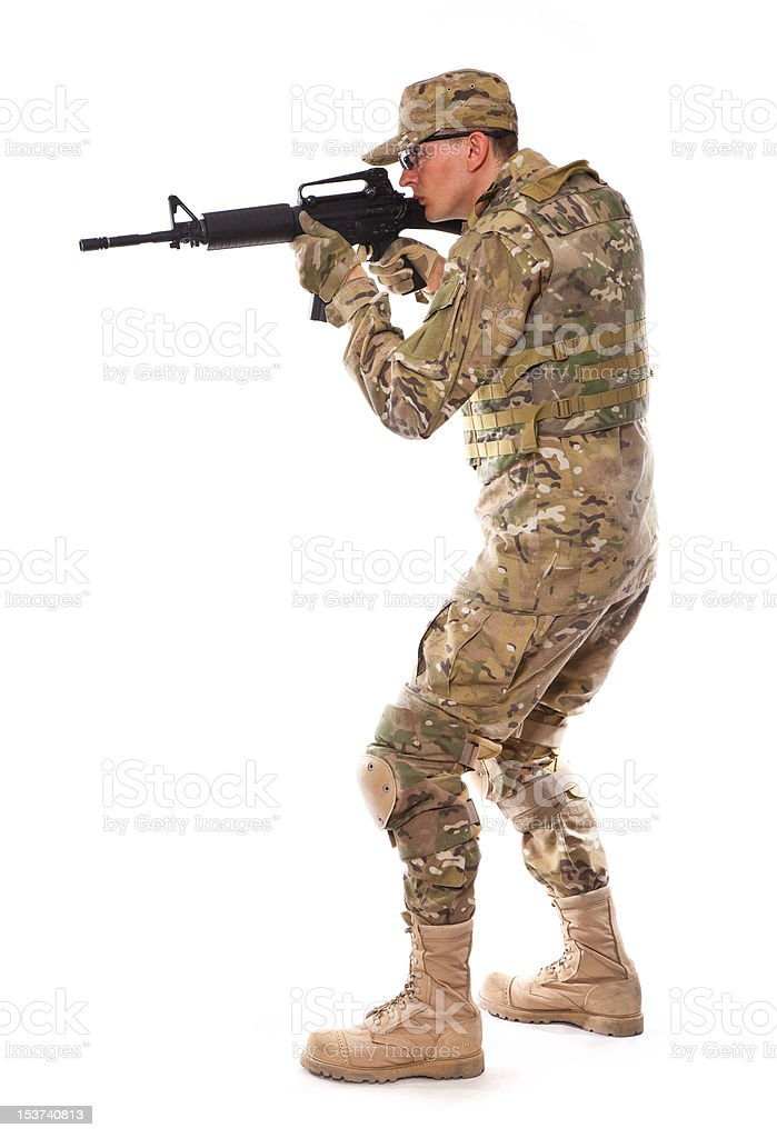 Soldier with rifle royalty-free stock photo