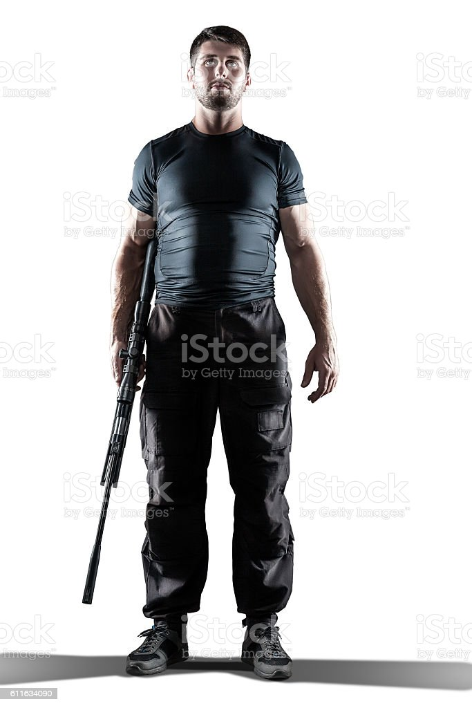 Soldier with sniper rifle isolated on white stock photo