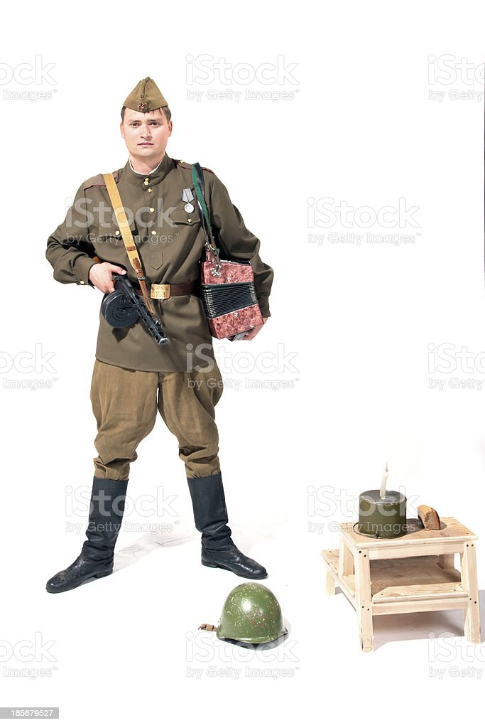 soldier with the accordion royalty-free stock photo