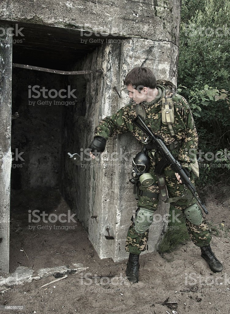 soldiers and old concrete strengthening stock photo