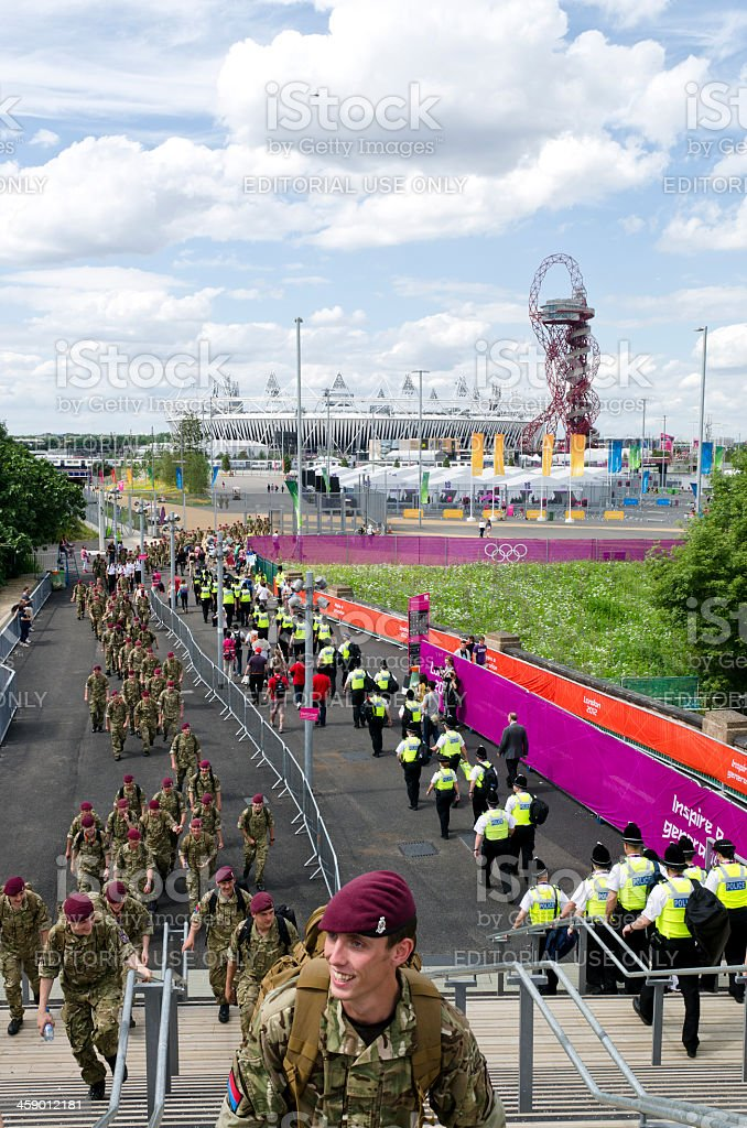 Soldiers and Police at the London 2012 Olympic Park stock photo